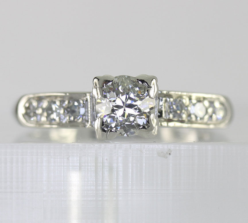 Antique platinum diamond deco engagement ring