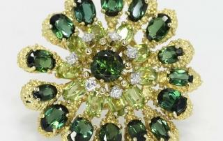 Vintage Le Triomphe GVS diamond tourmaline peridot flower brooch