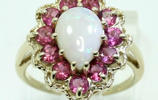 Opal rubellite halo ring yel/gold pear cabochon round rope detail size 6